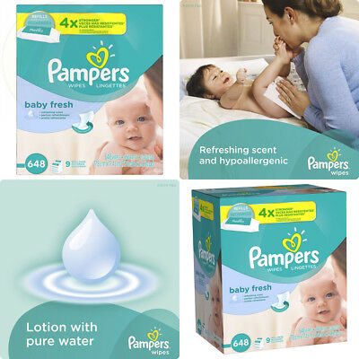 Pampers Fresh Baby Wipes 9X Refill 648 Count New Free Shipping