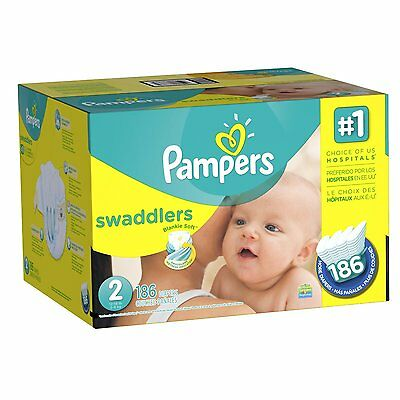 Pampers Swaddlers Diapers Size 2 Economy Pack Plus 186 Count Packaging New