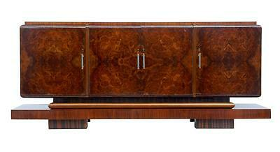 1920's ART DECO WALNUT AND BIRCH LARGE SIDEBOARD