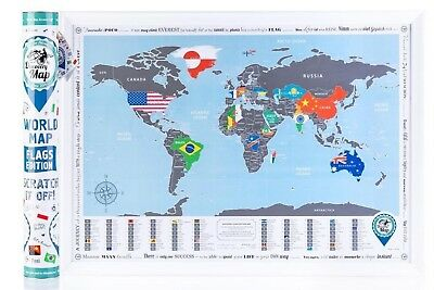 World Map with Scratch off Flags Edition Tube Packaging Map in Tube
