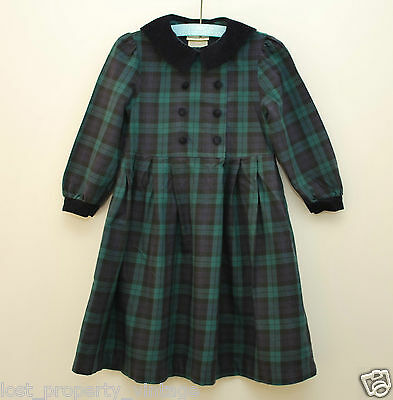Vintage Laura Ashley dress age 3 years green blue check plaid Mother Child