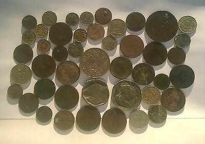 40 Old G.b. & Other European Coins.poorer Quality/ Scrap(Plus 2 Medals)!!