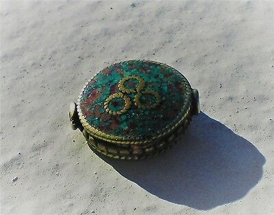 Natural Round Tibetan Style Bead Inlaid Turquoise Coral Brass Silver
