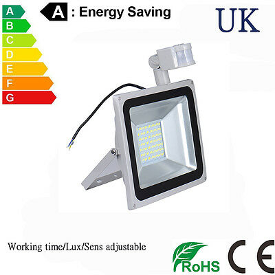 PIR Sensor Motion LED Floodlight 100W Security Cool White Garden Outdoor IP65