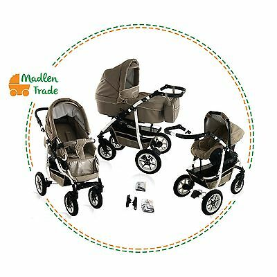 Baby Pram Stroller Pushchair 3in1 Car Seat Carrycot Travel System Buggy 20COLS.