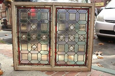 1920s Double Panel Framed Stained Glass Window Fits Spanish Revival Tudor (9853)