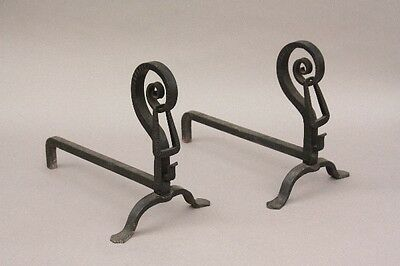 Pair 1920s Small Wrought Iron Andirons Hand Made Antique Fireside (9842)