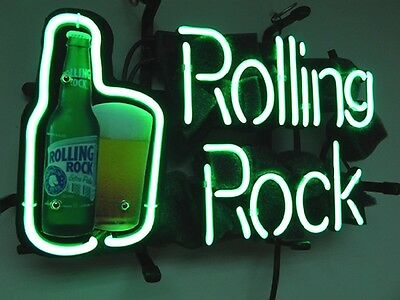 "New Rolling Rock Bottle Can Real Glass Tube Beer Bar Neon Light Sign 13""x9"""