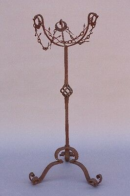 1920s Antique Hand Made Plant Stand Vintage Wrought Iron Spanish Revival (9836)