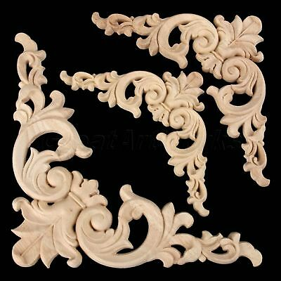 Home Furniture Applique Craft Oak Wood Carved Onlay Decal Corner European Style