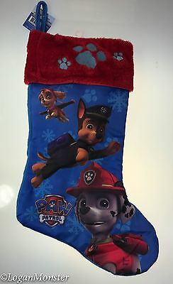 Nickelodeon Paw Patrol Christmas Stocking Blue Red Skye Chase Marshall