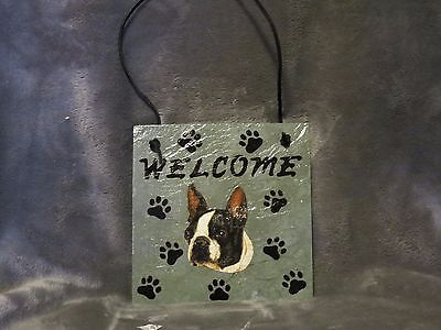 Hand Made Slate Boston Terrier Welcome Sign 5 1/2 Inch X 5 1/2 Inch