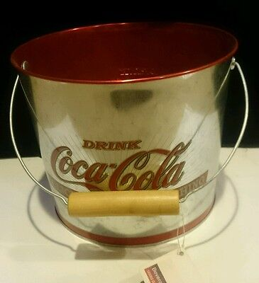 Coca-Cola Brand Beverage Bucket with Wooden Handle Grip