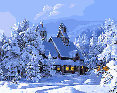 Painting by Number kit Winter Snow Warm Home Log Cabin In The Forest DIY DY7134