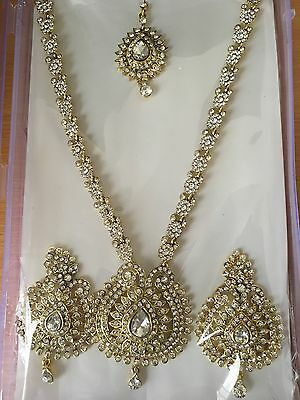 Bollywood Style Costume Jewelry Long Necklace Set Gold/white  Stones