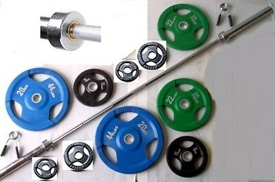 100KG Coloured Rubber Coated Tri-Grip Olympic Weight Set, 7ft 2 Barbell Bar