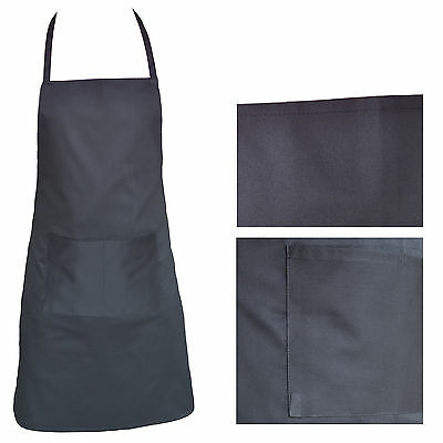 Black Apron Kitchen Cooking catering  Home Chef With 2 Pockets polly/ cotton