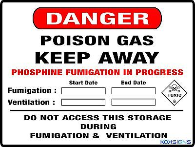 Danger Poison Gas Fumigation Farm Safety Sign -- 300 X 225Mm -- Metal Sign