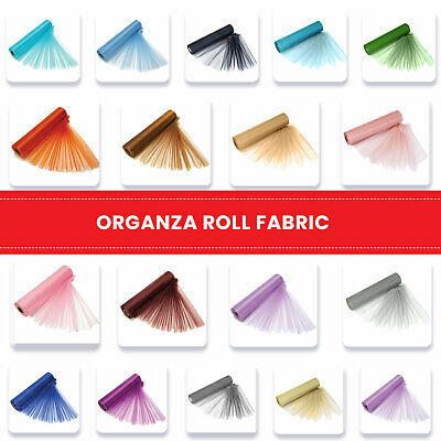26m x 29cm Organza Roll Sheer Fabric Chair Sashes Bows Christmas in 37 Colours