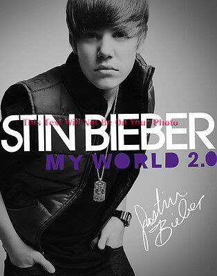 Justin Bieber My World 2.0 Album Cd Lp Dvd Signed 11x14 Preprint Photo
