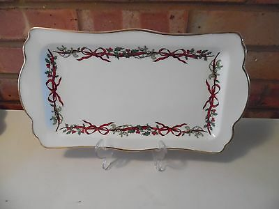 """Royal Worcester Large 13"""" by 7"""" Sandwich Tray - Holly Ribbons - Made in England"""