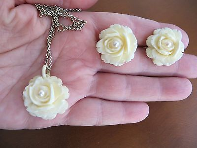 Art Deco Silver Celluloid Carved Flowers Real Pearl Necklace Earrings Set Rare!
