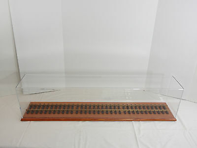 Model Train Display Case Gauge 1 One Oak Board w/ Arcylic Top and Track 36 Inch