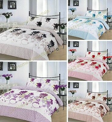 Modern Bethany Printed Duvet Quilt Cover Bedding Set With Pillow Cases All Sizes