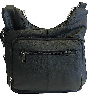 Genuine Leather Concealed Carry Gun Purse Concealment Bag CCW CWP Locking Zipper