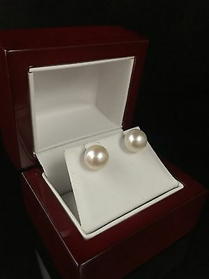 New 18Ct Gold Genuine Perfectly Round Quality South Sea Pearl Stud Earrings 777