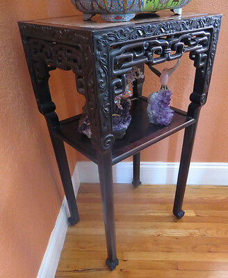 Antique Chinese Hard Wood Carved Table Rose Marble