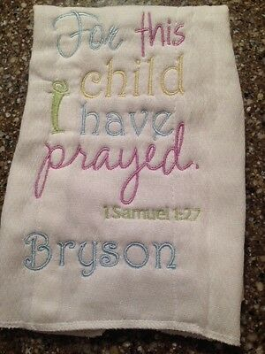 Personalized For This Child I Have Prayed Burp Cloth Diaper