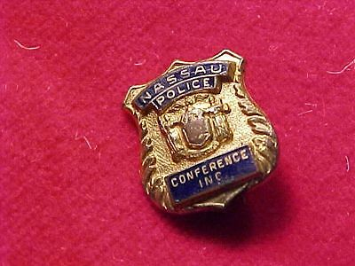 Orig Antique Mini Nassau County Long Island Ny Police Conference Inc Badge