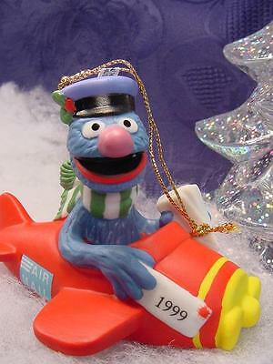 SESAME STREET GROVER Pilot CHRISTMAS ORNAMENT Porcelain NEW air MAIL airplane MB