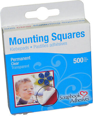3L scrapbook adhesives - mounting squares - 500 clear 6 x 13mm - permanent