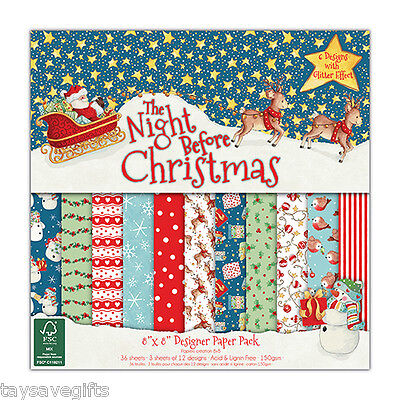 """Dovecraft - Designer paper pack 8x8"""" - The night before Christmas - 36 sheets"""