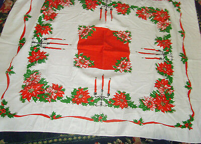 "43x51"" Vintage Christmas cutter tablecloth taper candles classic holiday retro"