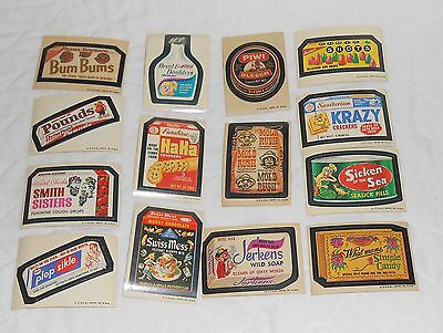 14 DIFFERENT VINTAGE 60's OR 70's WHACKY PACKAGES PLAYING CARD STICKERS