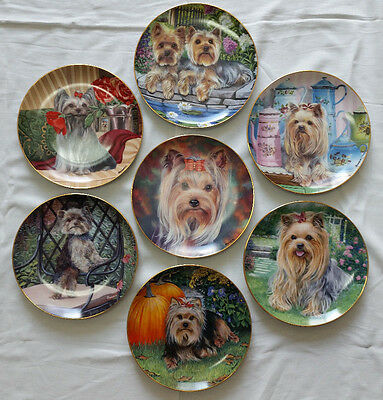 """(1) Danbury Mint 8"""" Decorative Collectible Yorkie Pals Dog Plate -$99 For All 7-"""
