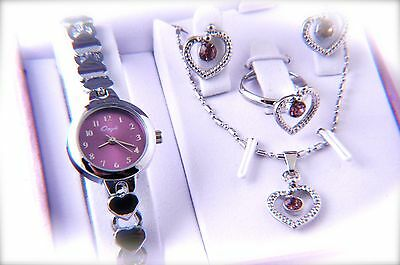 Love`s Collection Gift Set Watch with necklace, earring & ring heart design