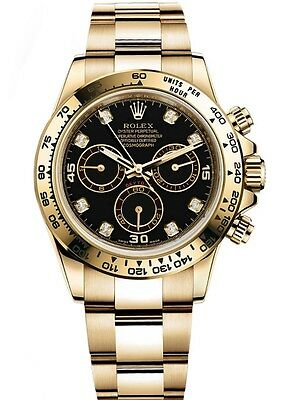 Rolex Daytona 18k Yellow Gold Black Diamond Dial 116508