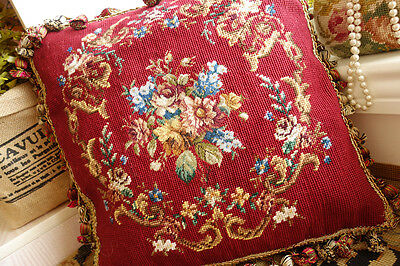 Red Floral Garland Rose Bouquet Handmade Antique Needlepoint Petit Point Pillow
