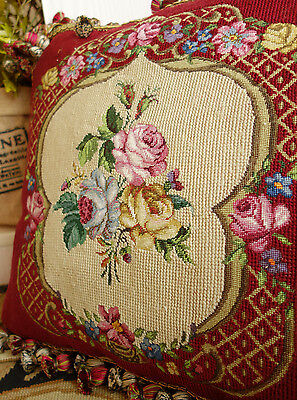 "16"" Vintage Needlepoint Pillow Romantic ROSES"