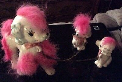 Vintage Ceramic Hair Pink Fur White Poodle Family With Chains  Japan