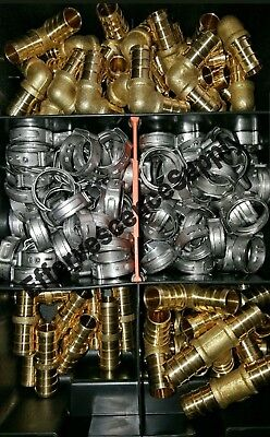 """(140) 1/2"""" Brss PEX Crimp Fittings - Stainless Steel Cinch Clamps - Lead Free"""