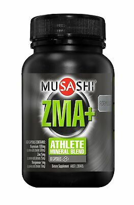 Musashi ZMA+ Sports Supplements 60 Capsules - Magnesium, Zinc and Manganese