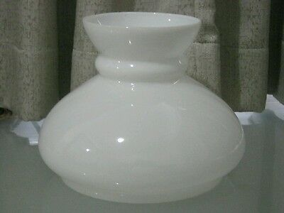 TRADITIONAL VINTAGE WHITE  GLASS  OIL LAMP SHADE ALADDIN 19.3cm