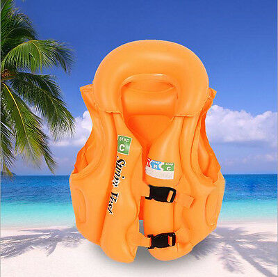 3 Colors Children Kids Swimming Aid Inflatable Floating Life Jacket Vest Protect