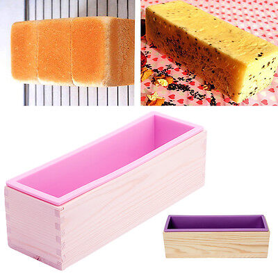 Rectangle Silicone Soap Mold Wooden Box DIY Tools Toast Loaf Baking Cake Mold