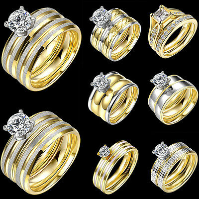 Women Gold Plated Titanium Steel Ring Cubic Zirconia Rings Wedding Size 6 7 8 9